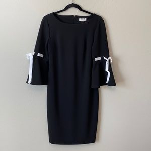 Calvin Klein Black Bell Sleeve White Bows
